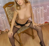 Teen on pantyhose exposing awesome curves
