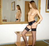 Pantyhose nubile babe smoking nude in front of a wide mirror