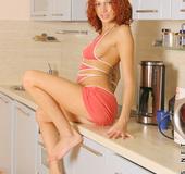 Wow sexy teen hottie juliana strips off her bikini in the kitchen