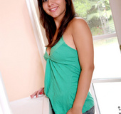 Horny teen Alanaleigh removes her panties & bends over to exposed her