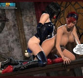 Hot big boobed bondaged shemale forced to fuck her mistress love hole.