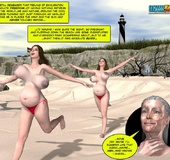 Horny busty 3d wife geetin naked on the beach and being watched by stranger.