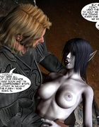 Demonic busty 3d babe gets her wet pussy licked by horny redhead witch.