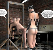 Lusty 3d mistress in leathe outfit humuliates big boobed slave girl in