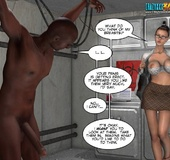 Super busty 3d girl gives an awesome head and tittyfuck to tied black