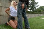 enslaved blonde girl receives