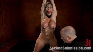 restrained blonde slave milf