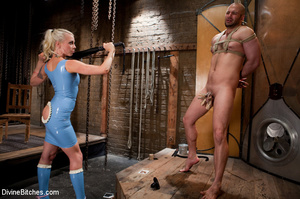 Tied up enslaved dude gets his pecker to - XXX Dessert - Picture 2