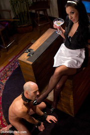 obedient tied guy commanded