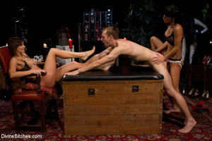 Two awesome mistresses give a footjob to - XXX Dessert - Picture 6