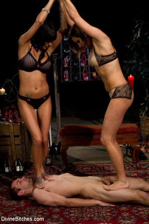 Two awesome mistresses give a footjob to - XXX Dessert - Picture 15