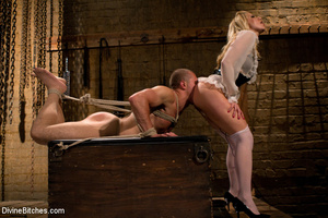 Horny dominatrix in white nylons using s - XXX Dessert - Picture 4
