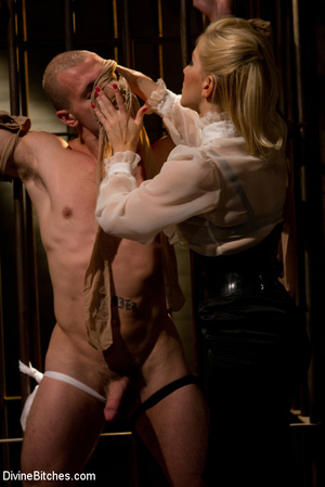 Horny dominatrix in white nylons using s - XXX Dessert - Picture 6