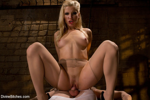 Horny dominatrix in white nylons using s - XXX Dessert - Picture 15