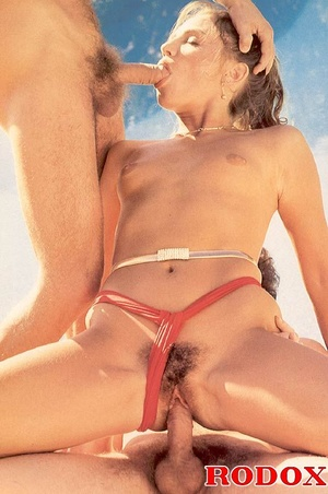 Hairy seventies slut enjoys two big cock - XXX Dessert - Picture 11