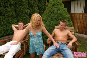 Pregnant blonde spots two guys sunbathin - XXX Dessert - Picture 1