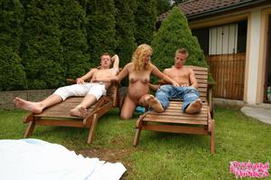 Pregnant blonde spots two guys sunbathin - XXX Dessert - Picture 4
