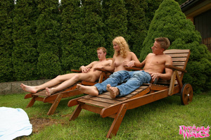 Pregnant blonde spots two guys sunbathin - XXX Dessert - Picture 6