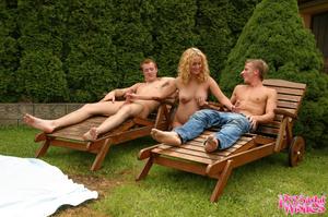 Pregnant blonde spots two guys sunbathin - XXX Dessert - Picture 8
