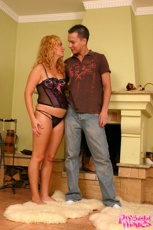 Pregnant blonde gets on her knees to suc - XXX Dessert - Picture 1