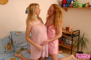 Cute redhead lesby licks her pregnant gi - XXX Dessert - Picture 1