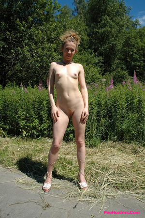 Teeny pissing in the middle of the country road - XXXonXXX - Pic 14