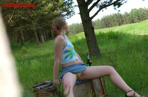 Spying on sexy teen peeing outdoor - XXXonXXX - Pic 2