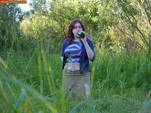 Spying on peeing redhair chubby teen - XXXonXXX - Pic 3