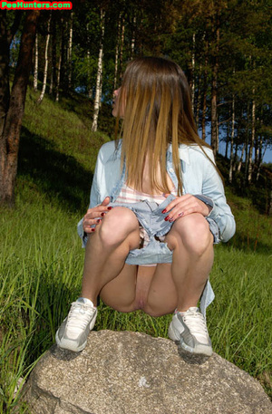Spying on exciting beautiful teen peeing in the park - XXXonXXX - Pic 11