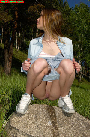 Spying on exciting beautiful teen peeing in the park - XXXonXXX - Pic 14