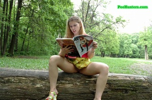 Teenage puss pissing onto a posh fashion mag - XXXonXXX - Pic 4