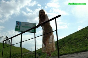 Teenage doll taking a long piss off the bridge - XXXonXXX - Pic 7