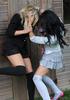 Blonde cutie Amy Green in sexy black socks gets sripped by Kayleigh Williams