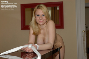 Busty blonde Tammy bent over the table w - XXX Dessert - Picture 4