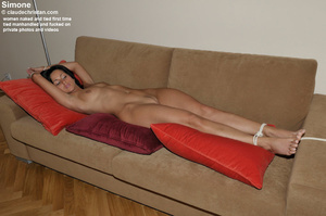 Big boobed hairy Velvet lying tied and l - XXX Dessert - Picture 12