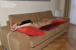 Big boobed hairy Velvet lying tied and l - XXX Dessert - Picture 15
