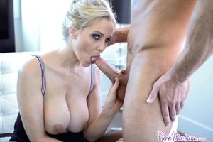 Blonde sexy milf gets her face cum cover - XXX Dessert - Picture 11