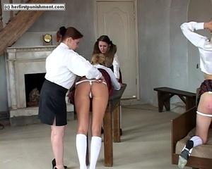 Naughty schoolgirl bends over and let's  - XXX Dessert - Picture 1
