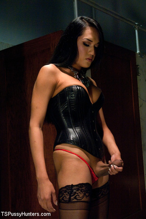 Sexy ladyboy in latex outfit and stockin - XXX Dessert - Picture 1