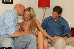 Hot Blonde Wife Sucks Another Man's Dick - XXX Dessert - Picture 2