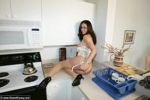 Adorable brunette housewife in tight lin - XXX Dessert - Picture 14