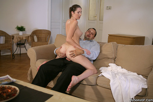 Horny older guy forced his son's gf to hardcore sex while in private. Tags: Old young, pussy licking, naked girl, shaved vagina. - XXXonXXX - Pic 9