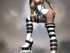 Stunning 3d bimbos in sexy latex uniform looking so - Picture 4
