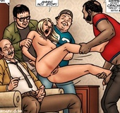 Slim body blonde slave babe gets ganf banged by five perverted guys. Tags: