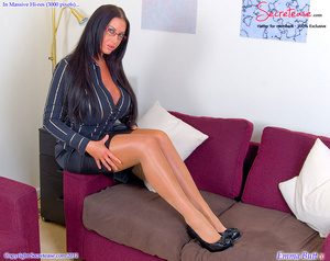 Busty office stunner in tan stockings pl - XXX Dessert - Picture 2