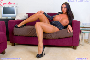 Busty office stunner in tan stockings pl - XXX Dessert - Picture 8