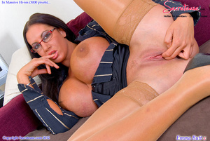 Busty office stunner in tan stockings pl - XXX Dessert - Picture 11