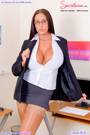 Big boobied secretary in skin tone stock - XXX Dessert - Picture 1