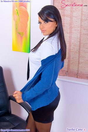 Dark haired busty secretary in black lin - XXX Dessert - Picture 1