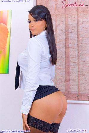 Dark haired busty secretary in black lin - XXX Dessert - Picture 8